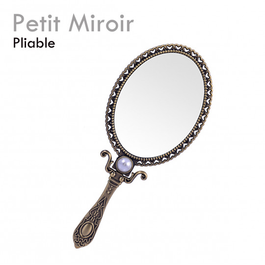 Miroir à main extension de cils doré argenté étain accessoire pliable