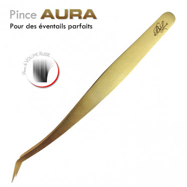 Pince Aura extension de cils volume russe éventails doré bouquets parfaits facile