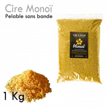 Cire Pelable 1Kg  Blonde monoï pelable sans bande épilation professionnelle grains