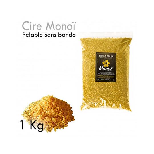 Cire Pelable 1Kg  Blonde monoï pelable sans bande épilation professionnelle grains