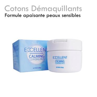 Cotons démaquillants Exellent peau sensible appaisant sans gras préimprégnés