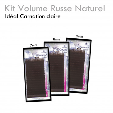 Kit Volume Russe naturel brun carnation claire extension de cils