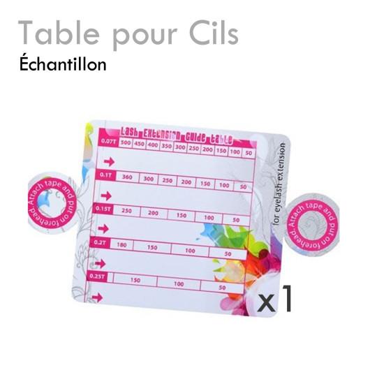 Table pour cils cadeau échantillon