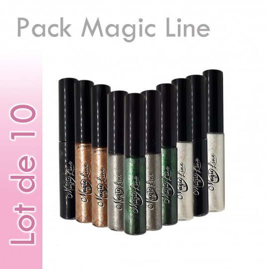 pack magic line lot 10 eyeliner extension cils promo discount pas cher couleurs waterproof peel off intense