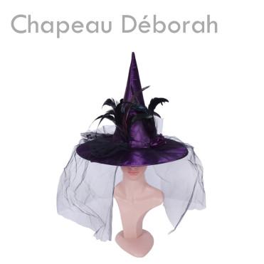"""Chapeau de sorcière """"Déborah"""" pas cher costume déguisement halloween violet plume araignées"""