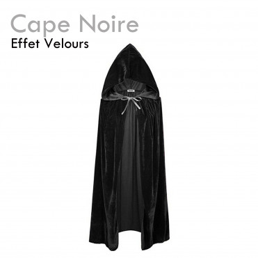 Cape Noire déguisement halloween pas cher costume velours sorcière