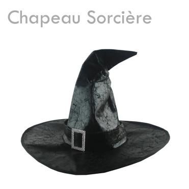 Chapeau de Sorcière noir effet cuir craquelé deguisement costume halloween original aps cher