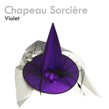 Chapeau de Sorcière Violet pas cher original déguisement costume halloween tissu violet fleurs