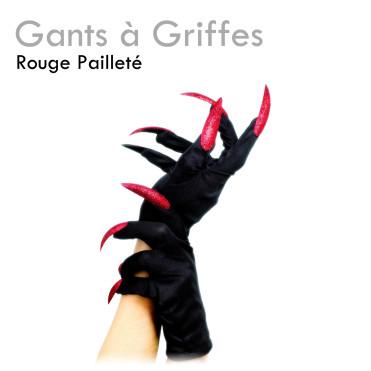 Gants Griffes Rouges Pailletées déguisement pas cher halloween vampire sorcière sexy costume
