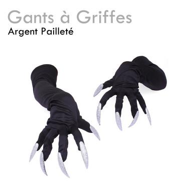Gants Griffes Argentées Pailletées déguisement femme halloween sexy vampire pas cher original sorcière costume